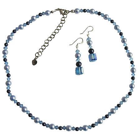 Swarovski Crystals Pearls Aquamarine Blue Handcrafted custom Set