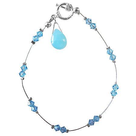 Wedding Party Jewelry Aquamarine Crystals Glass Bead Teardrop Bracelet