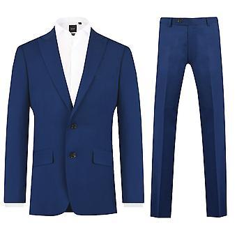 Dobell Mens Bright Blue 2 Piece Suit Slim Fit Peak Lapel