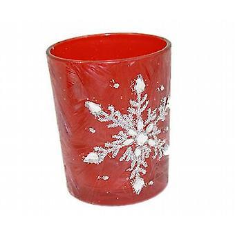 Rode matte Look thee licht houder met zilver Glitter sneeuwvlok Design - Set van 4 - (75R3034)