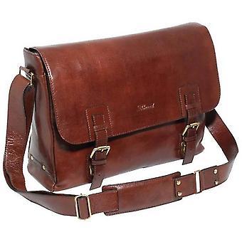 Ashwood Leather Chelsea Veg Tan Jasper Double Clasp Laptop Satchel - Brown