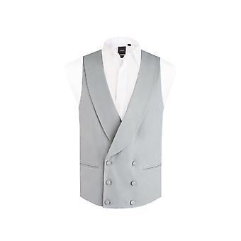 Dobell Mens Dove Grey Morning Suit Wedding Waistcoat Regular Fit Shawl Lapel Double Breasted