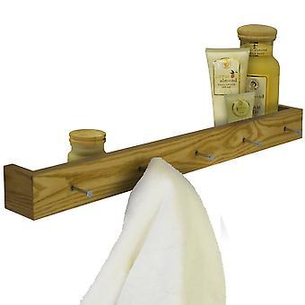 Ellis - madeira montado 80cm flutuante prateleira de parede com 5 ganchos - Carvalho