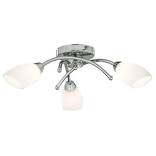 Searchlight 8183-3CC Opera Modern Chrome Ceiling Flush 3 Light With Opal Glass