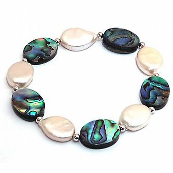 TOC Mother of Pearl & Paua Shell Stones With Silver Bead Elasticated Bracelet