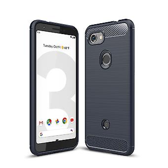 Google pixel 3A TPU cas fibre de carbone optique brossé étui de protection bleu