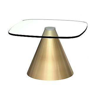 Gillmore Space Square Clear Glass Side Table With Conical Brass Base