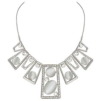 Eternal Collection Ventura Clear Crystal Cats Eye Silver Tone Statement Necklace