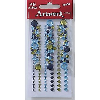 Blue And Olive Round Jewels Craft Embellishment By Artoz