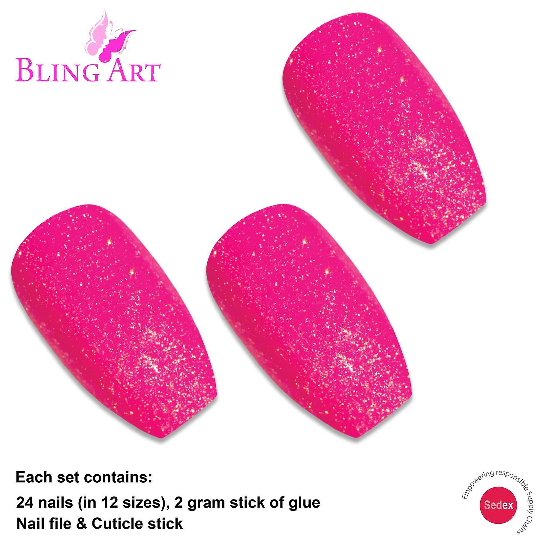 False nails by bling art pink gel ballerina coffin 24 fake long acrylic tips