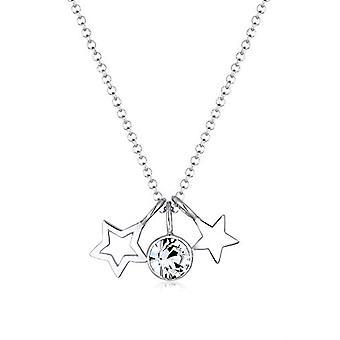 Elli Halskette mit Silber Damen Anhänger mit weißen Kristall - 45 cm