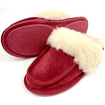 Echte schapenvacht Slipper Mule - Crimson