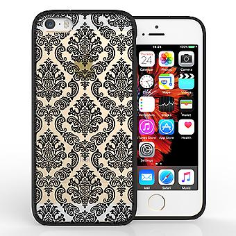 Yousave Accessories iPhone 5 and SE TPU Patterned Hard Case Damask Black