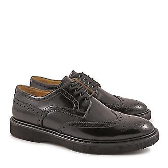 Handmade men's black lux leather wingtip shoes