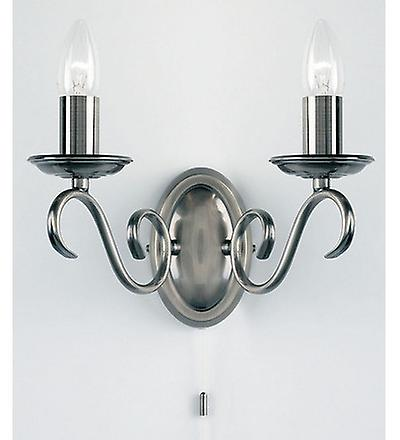 Endon 2030-2AS 2 Light Wall Light In Antique Silver