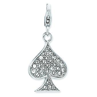 Sterling Silver Reversible Rhodium-plated Fancy Lobster Closure Enameled 3-d Spade With Lobster Clasp Charm