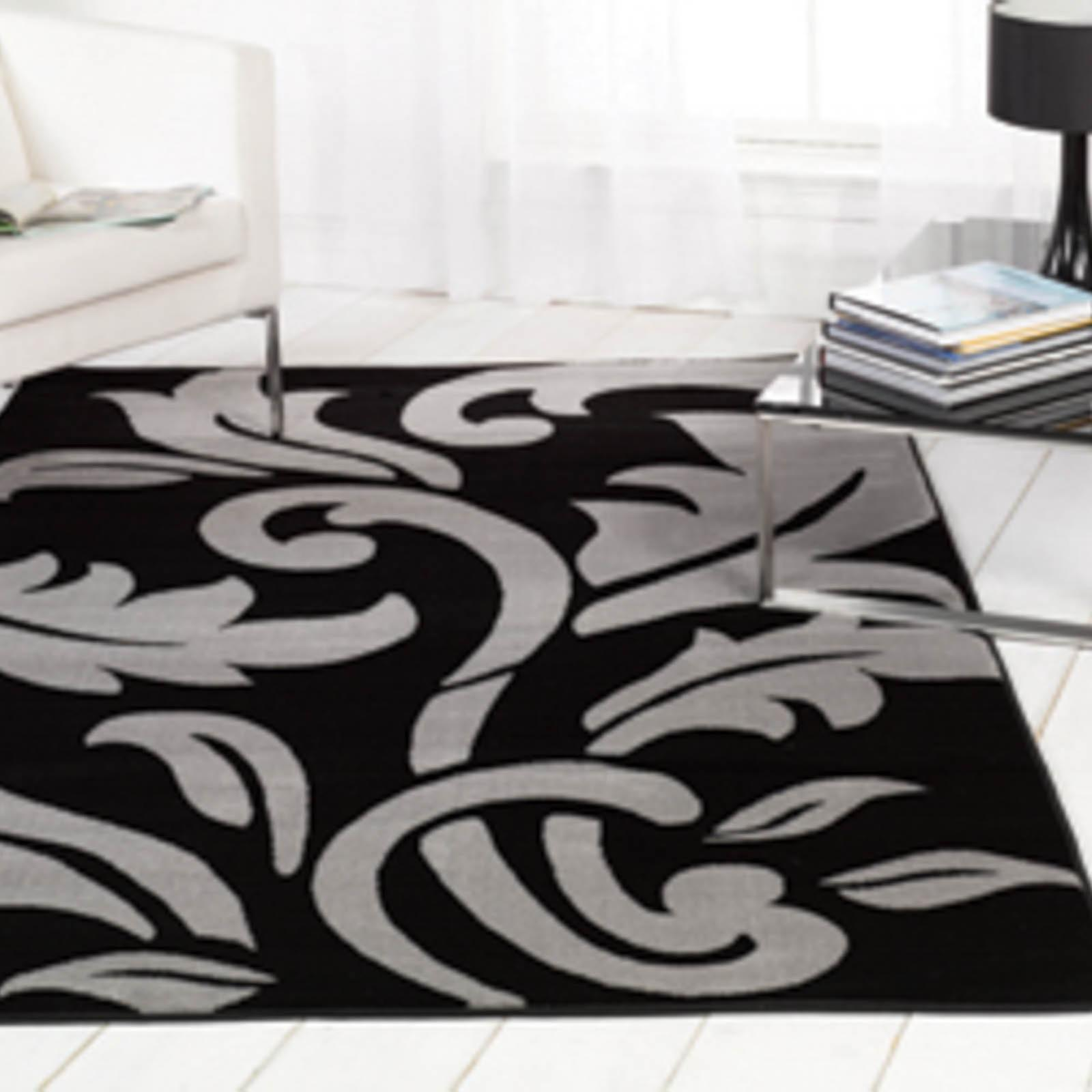Sincerity Script Rugs In Black Silver