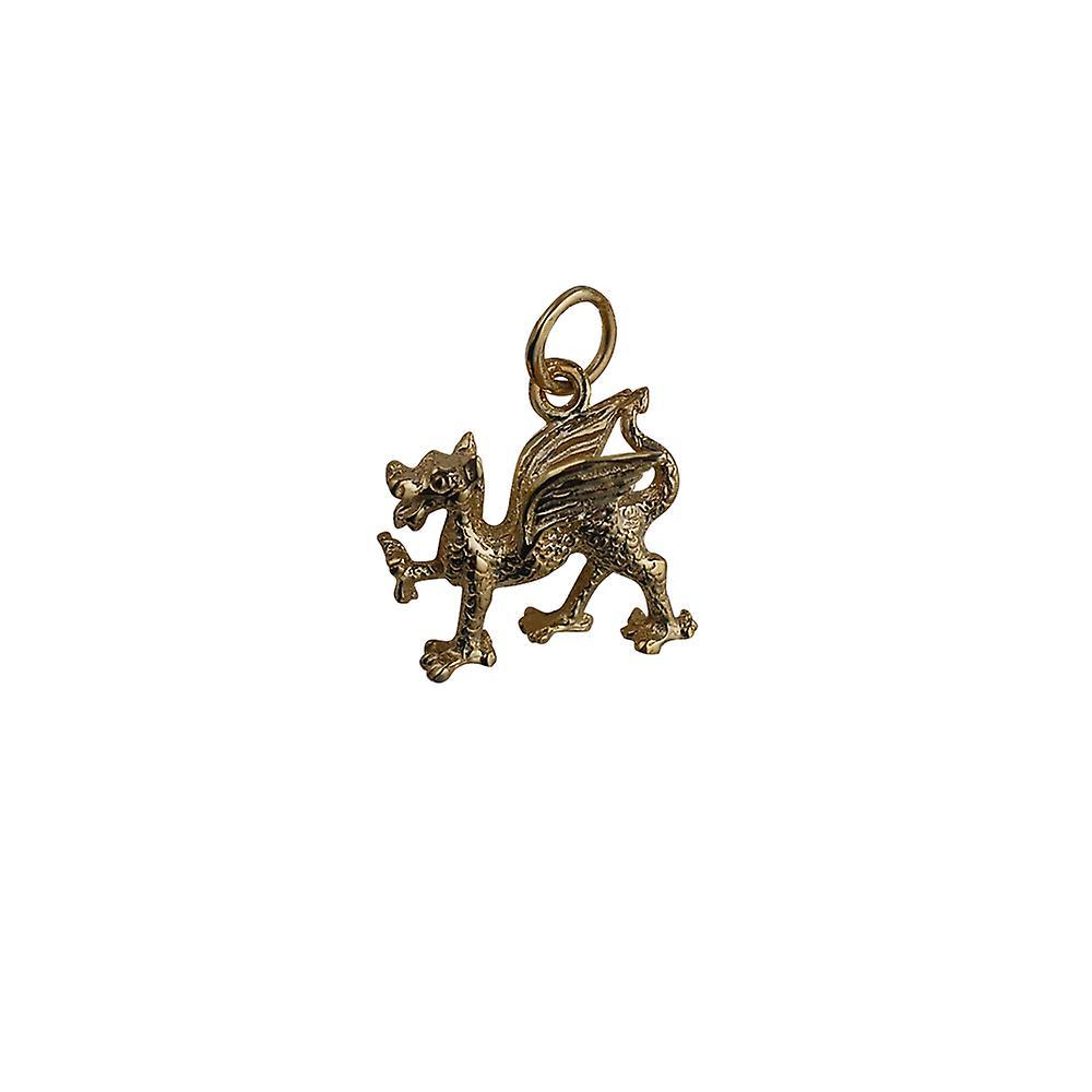 9ct or 17x15mm Dragon gallois pendentif ou charme