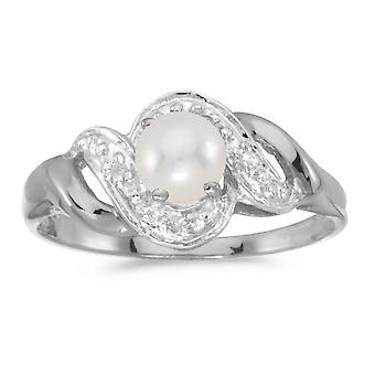 14k White Gold Freshwater Cultured Pearl And Diamond Swirl Ring