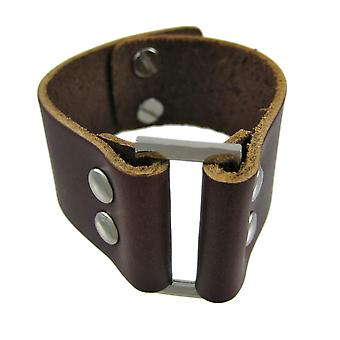 Brown Leather Strap Bracelet Chrome Accents