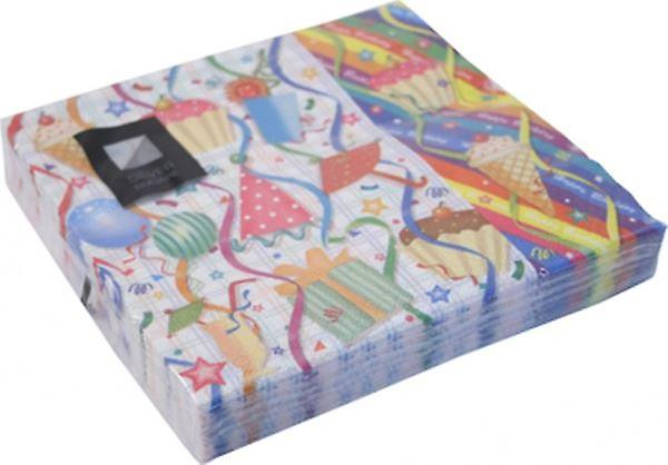 3 Ply Birthday Party Paper Napkins Pack of 20 Serviettes 33x33cm