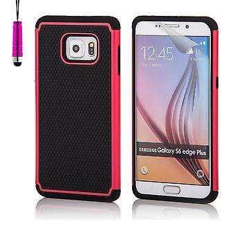 Shock proof case for Samsung Galaxy S6 Edge+ (S6 Edge Plus) including stylus - Hot Pink