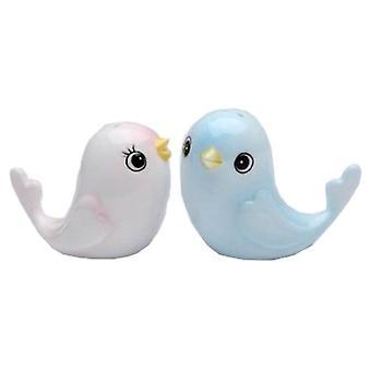 Flüge von Fancy Pink und blau Baby Vögel Salz und Pfefferstreuer Set