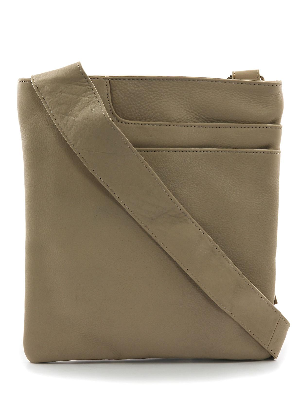 Alexis Leather Across Body Pocket Bag in Almond