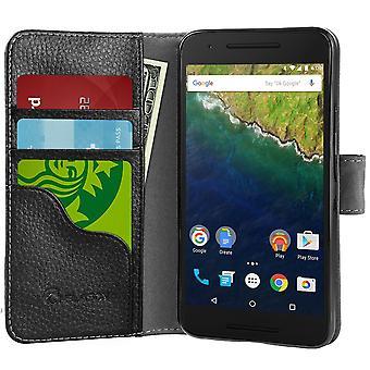 Jag-Blason Nexus 6P syntetiska plånbok läderfodral - svart