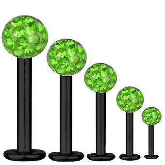 Labret Bar Tragus Piercing Black Titanium 1,6mm, Multi Crystal Ball Green | 5-16