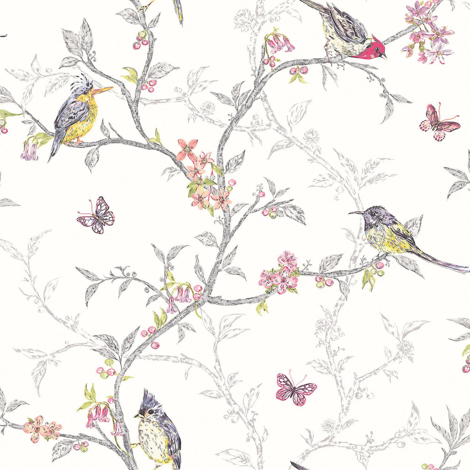 Holden Decor White Colourful Multi Color Birds Trees Floral Butterfly Wallpaper