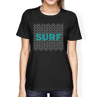 Surf Waves Womens Black Graphic Short Sleeve Tshirt Cool Summer Top