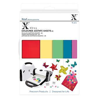 Xcut A5 farvede acetat ark 15pcs
