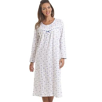 Camille Classic Blue Floral Long Sleeve Cotton Nightdress