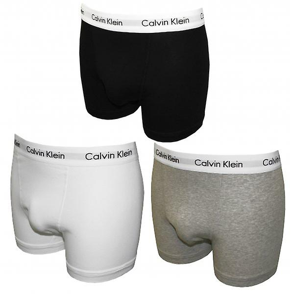 Calvin Klein Cotton Stretch 3-Pack Boxer Trunks, Black/White/Grey