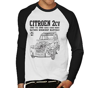 Haynes Owners Workshop Manual Citroen 2CV Black Men's Baseball Long Sleeved T-Shirt