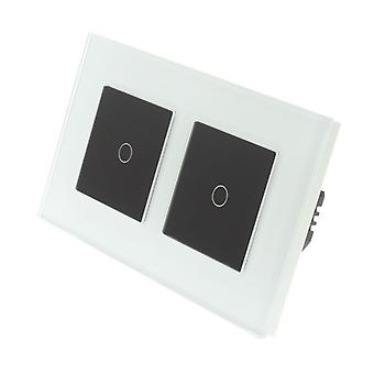 I LumoS White Glass Double Frame 2 Gang 1 Way Remote & Dimmer Touch LED Light Switch Black Insert
