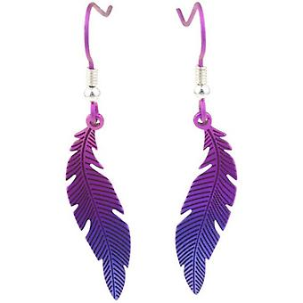 Ti2 Titanium Woodland Small Curved Feather Drop Earrings - Purple