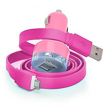 ONX3 HTC Desire 10 Lifestyle Baby roze Twin Port USB Mini Bullet In auto laderadapter inclusief 1 Micro USB-overdracht/kosteneenheden datakabel