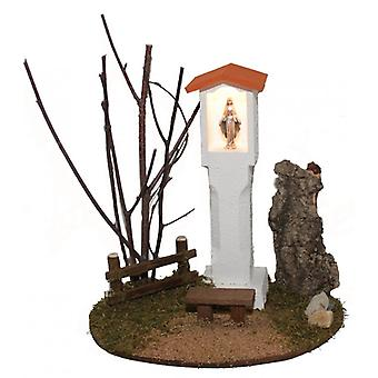 Madonna illuminated figure way Madonna wayside cross with Bank L for Nativity crib accessories