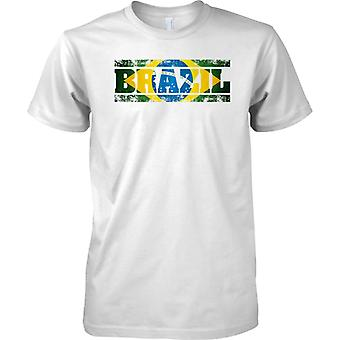 Brazil Grunge Country Name Flag Effect - Kids T Shirt
