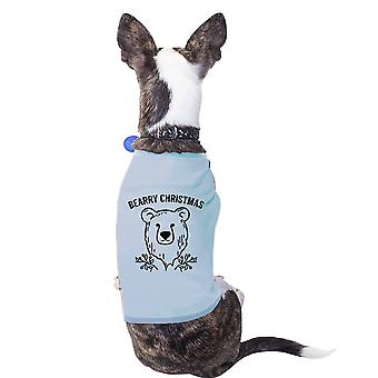 Bearry Christmas Bear Blue Pet Shirt For Small Pet Holiday Outfit