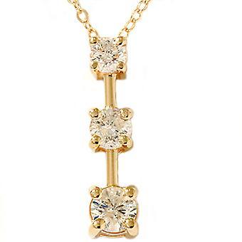 1ct три камня Алмазный Кулон Stick желтое золото