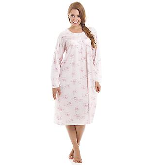 Camille Classic Style Long Sleeve Floral Print Pink Nightdress