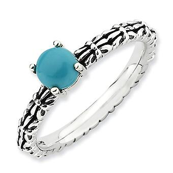 2.5mm Sterling Silver Prong set Antique finish Stackable Expressions Antiqued Simulated Turquoise Ring - Ring Size: 5 to