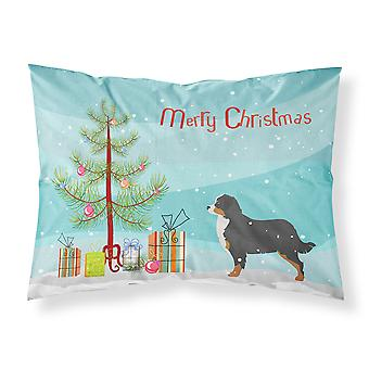 Bernese Mountain Dog Merry Christmas Tree Fabric Standard Pillowcase