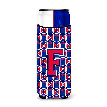 Letter F Football Crimson and Yale Blue Ultra Beverage Insulators for slim cans
