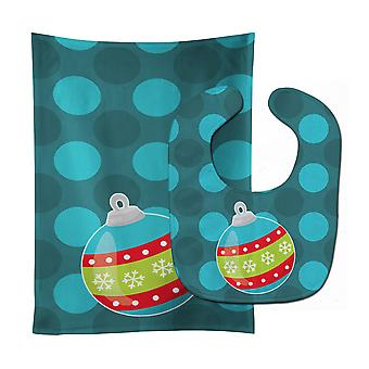Carolines Treasures  BB9022STBU Christmas Ornament Baby Bib & Burp Cloth