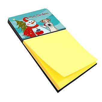 Snowman with Wire Haired Fox Terrier Sticky Note Holder