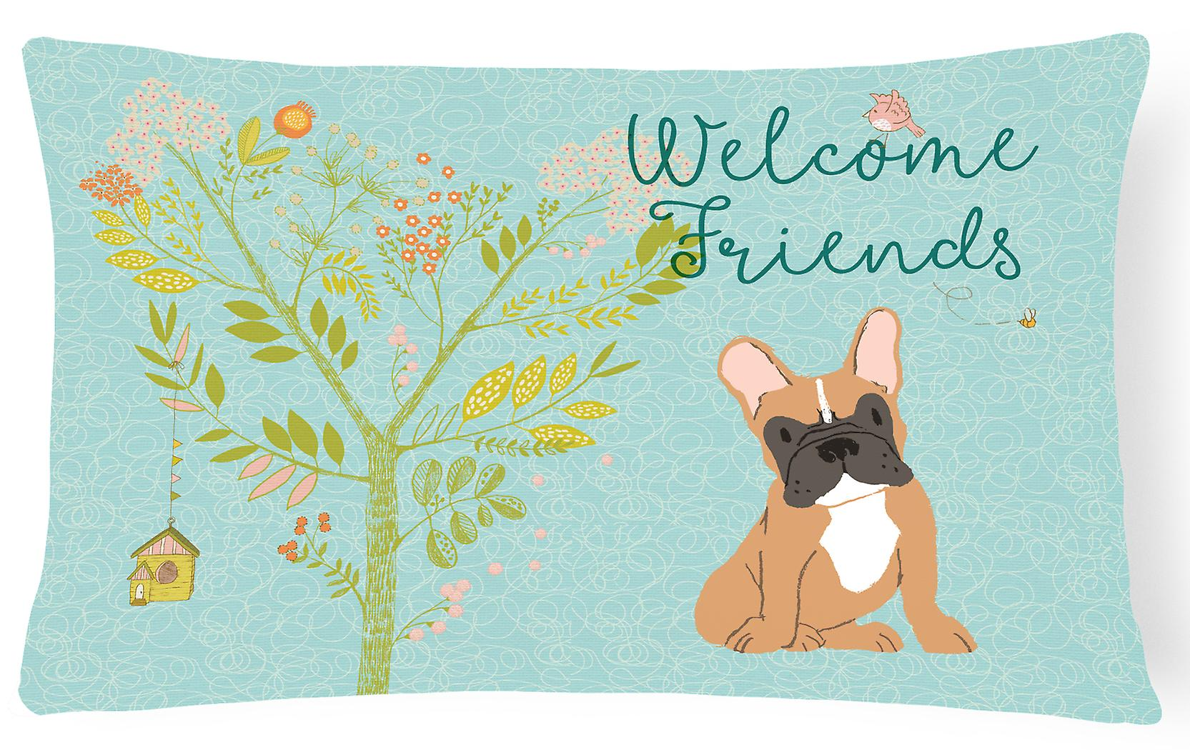 Fawn Bulldog Decorative Canvas Pillow French Friends Fabric Welcome j4A5LR